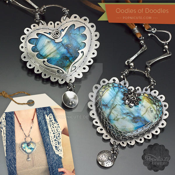 Oodles of Doodles Silver Heart Pendant Necklace by popnicute