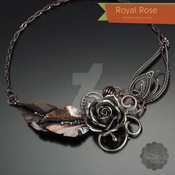 Royal Rose Argentium Silver Copper Necklace