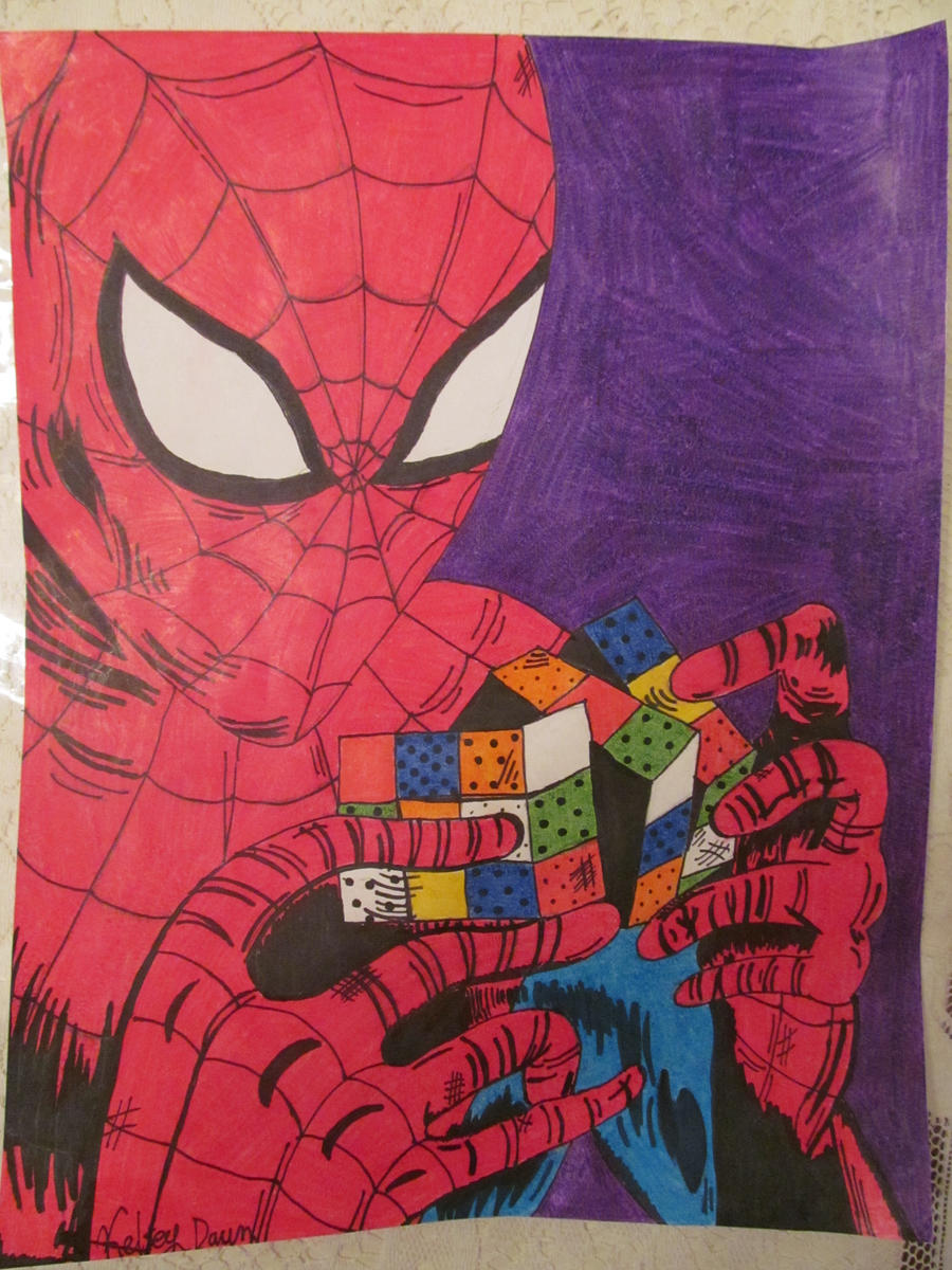 Spiderman confused by a Rubix Cube by kelseyxdawn