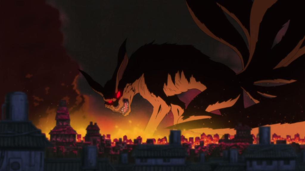 Kyuubi attack on Konoha by Darth-Drago