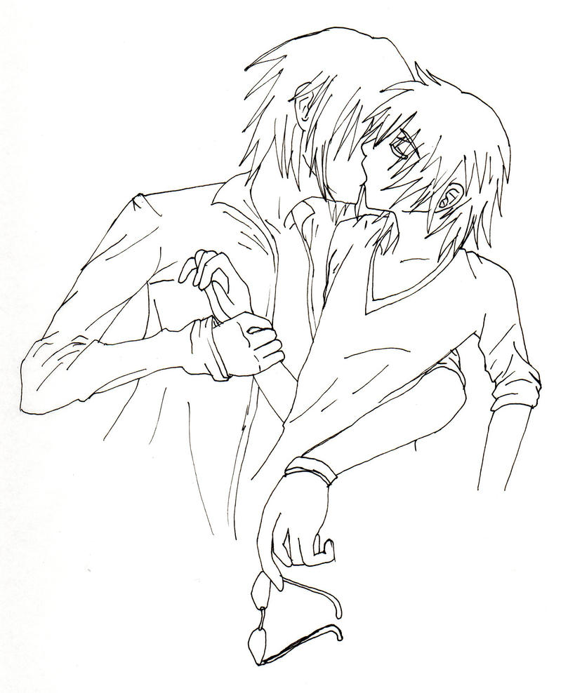 Line Drawing Kiss : Surprise kiss lineart by deidaralover on deviantart