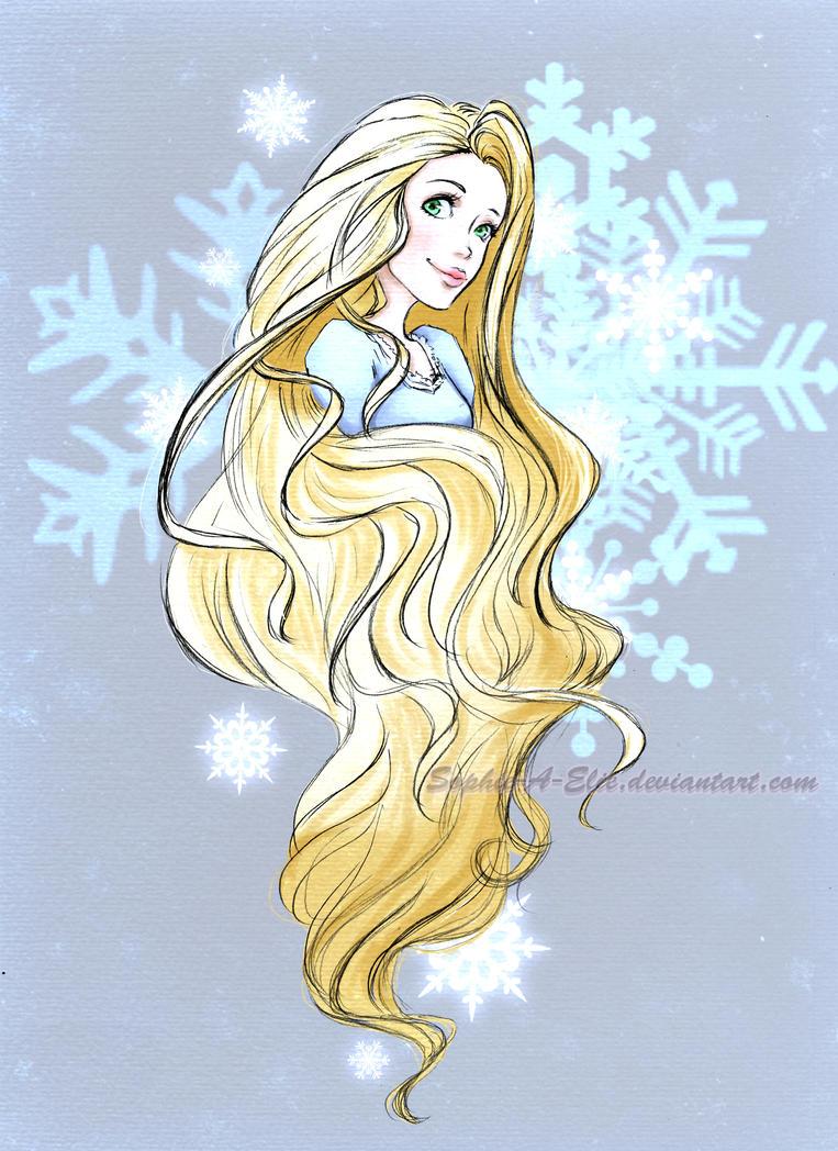Wintery Rapunzel sketch by sky-illuminated
