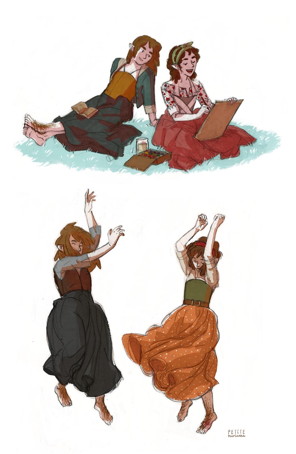 Hobbit gals by La-petit-Marianna