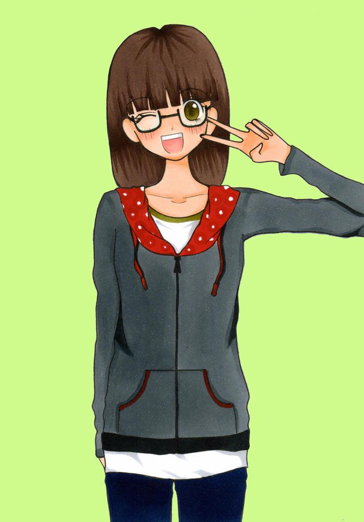 Chibi Anime Nerd Girl