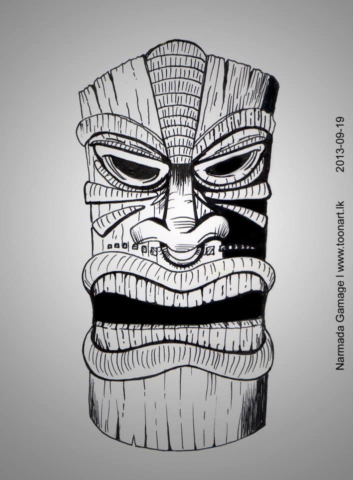 Tiki statue pencil drawing by narmadagamage on deviantart for Tiki hawaiano
