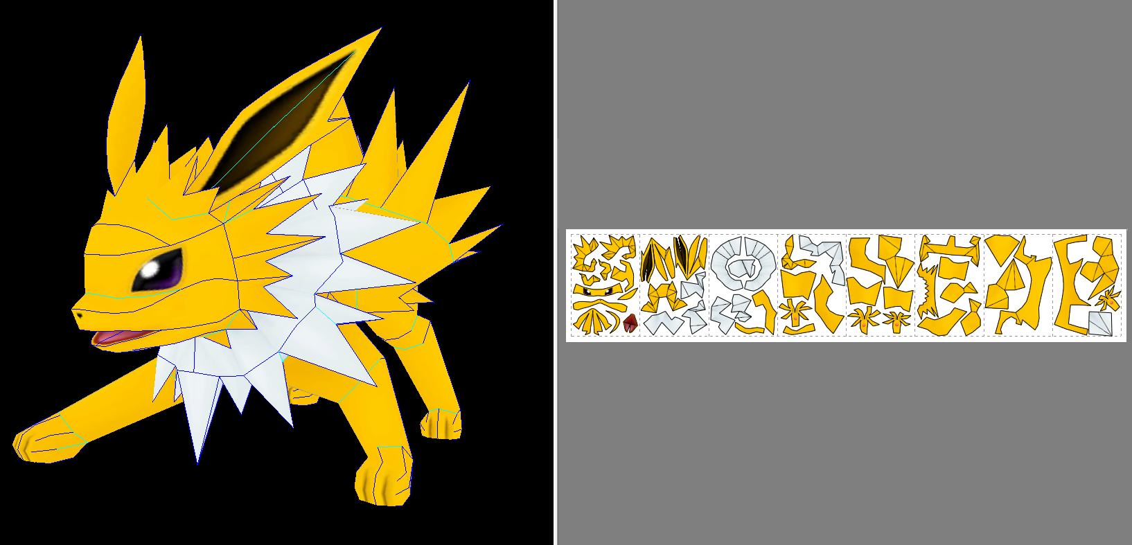 Jolteon Papercraft + Unfold Info by Sabi996