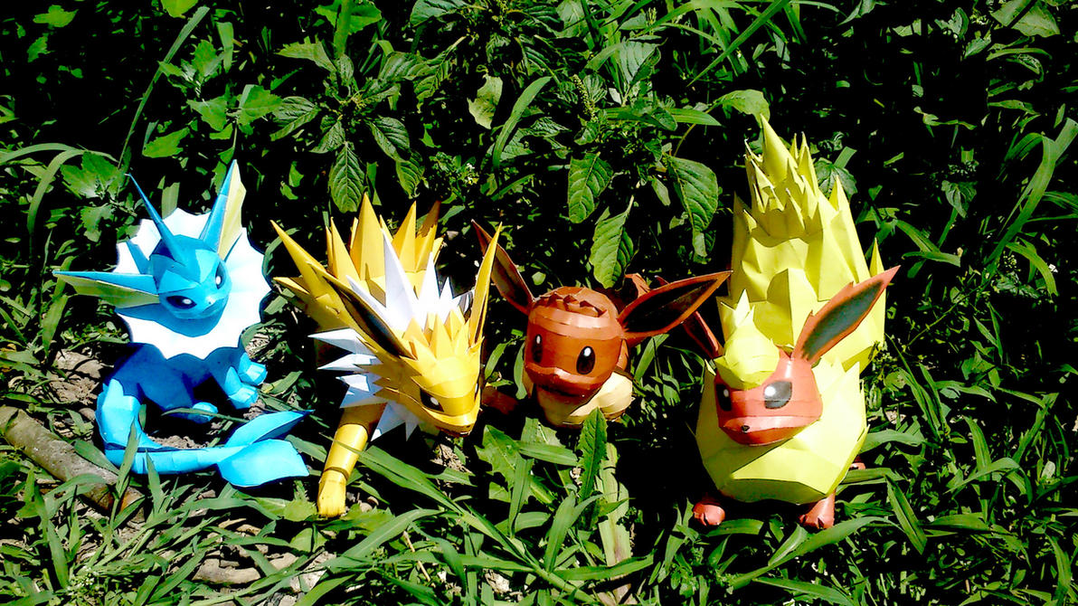 Kanto Eevee Family Papercraft by Sabi996