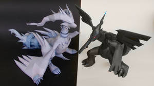 Pokemon Reshiram and Zekrom Papercraft