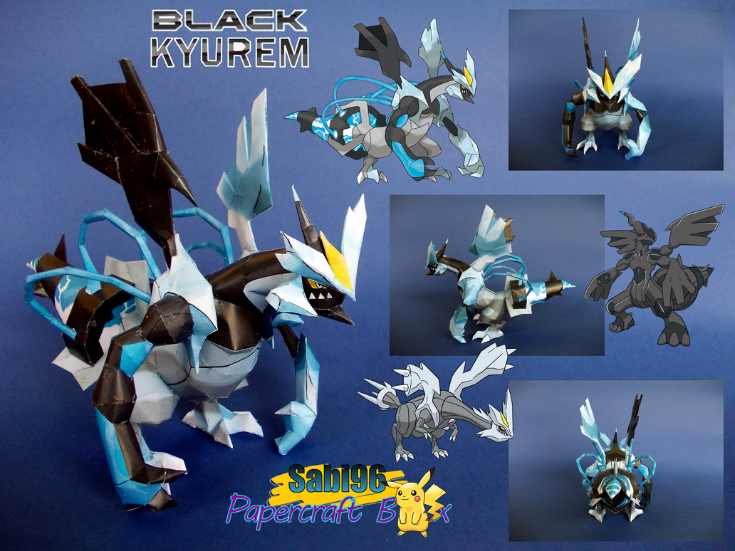 Sparkling Blue Black Kyurem Papercraft by Sabi996
