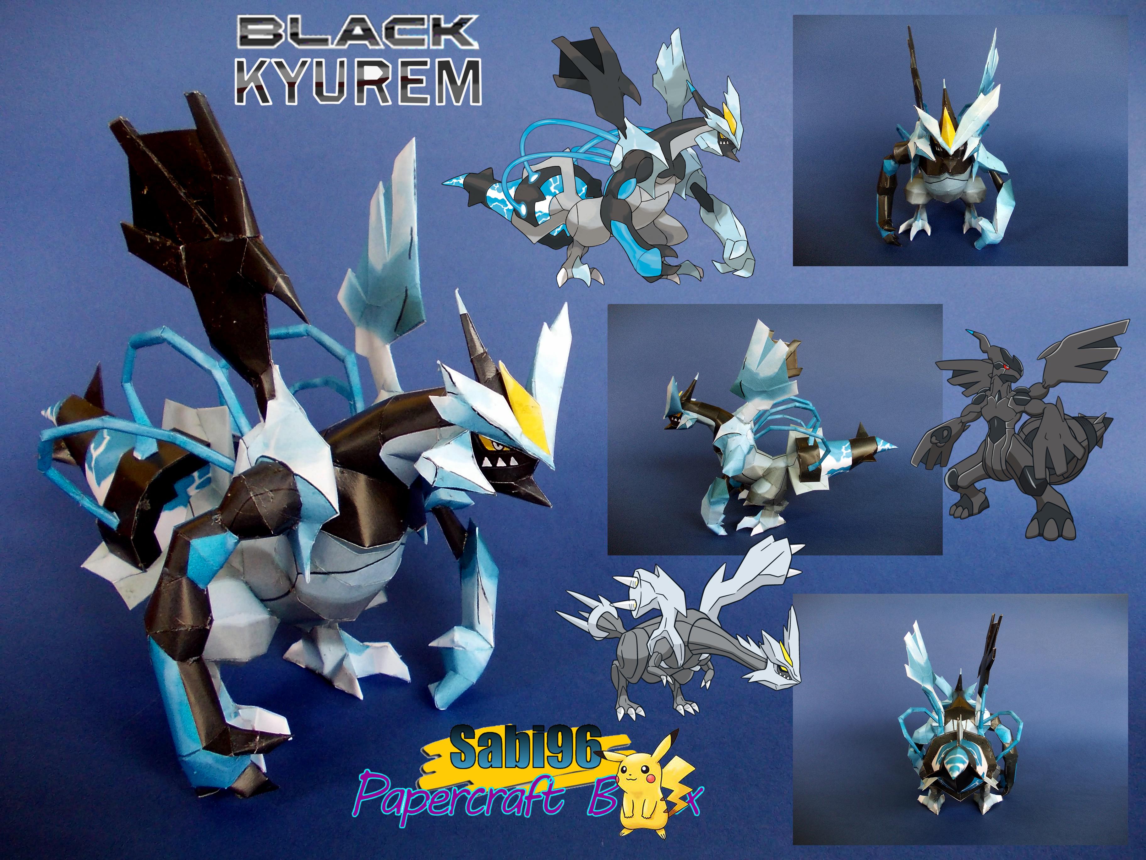 Sparkling Blue Black Kyurem Papercraft by Sabi996