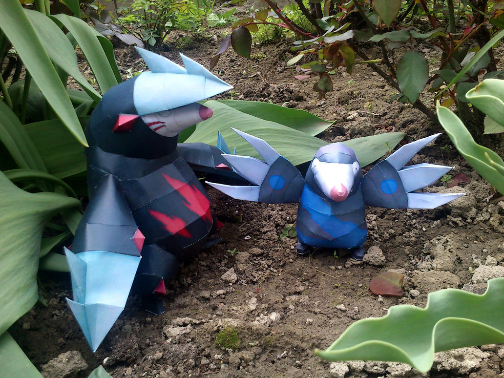 Drilbur and Excadrill Papercraft by Sabi996