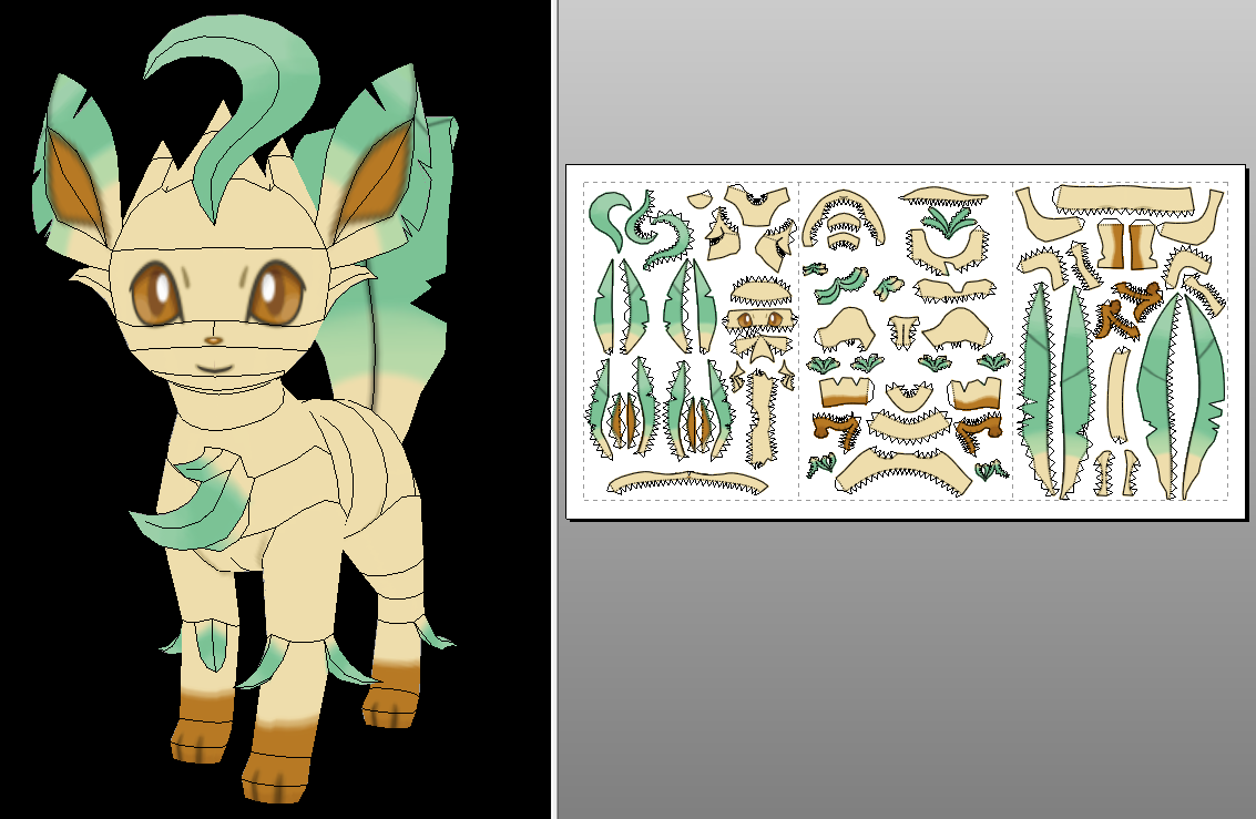 Leafeon ORAS Version Papercraft Unfold Info By Sabi996