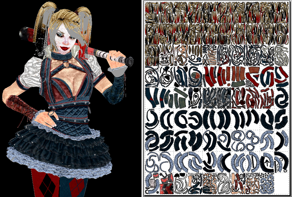 Harley Quinn (Arkham Knight) Papercraft + Unfold by Sabi996