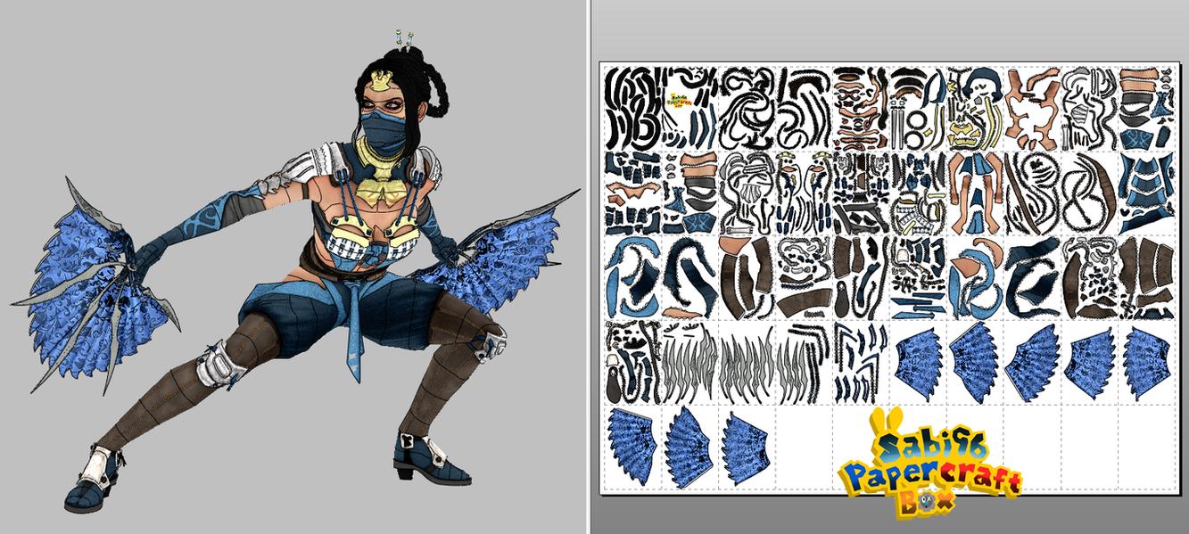 Kitana (Mortal Kombat X) Papercraft + Unfold by Sabi996