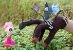 KNIGHT ON HORSE glove puppet by polpolina