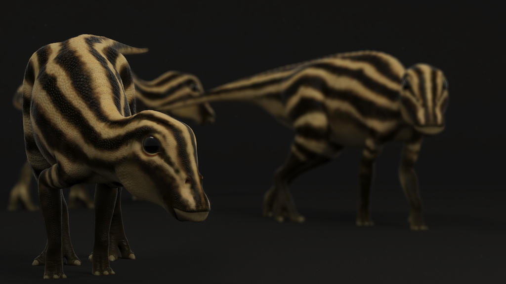 Edmontosaurus Hatchlings by clanaghan