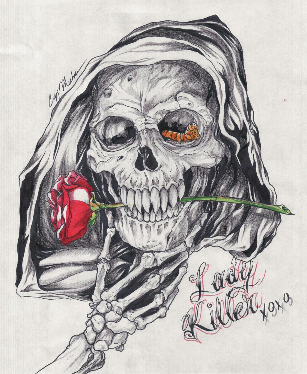 lady killer reaper tattoo design by narcissustattoos on deviantart. Black Bedroom Furniture Sets. Home Design Ideas