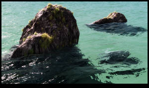 Rocks in turquoise water