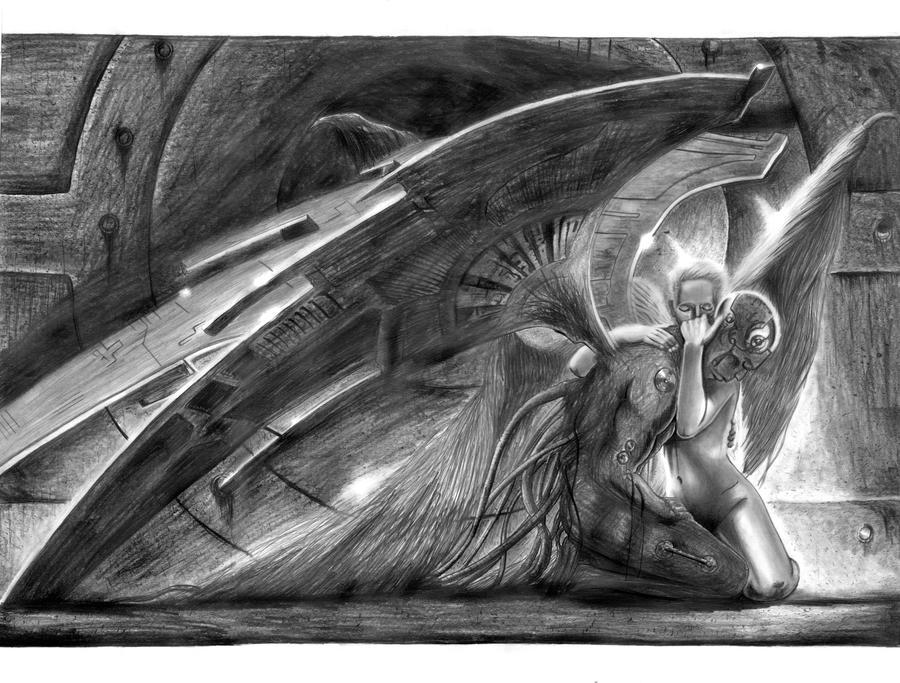 Gothic Angel holding demon