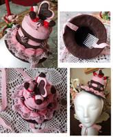 Strawberry choco cake hat by lilmiss-sailorenigma