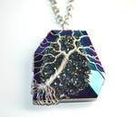 Druzy Agate Wire Wrapped Tree of Life Pendant