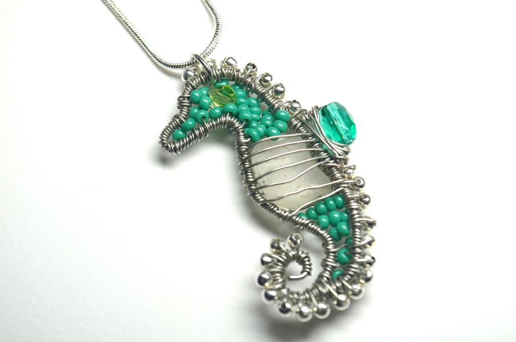 Wire Wrapped Seahorse Pendant With Sea Glass by LoneWolfjewelry on ...