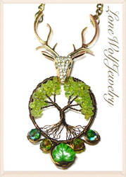 Stag Tree of Life Pendant Wire Wrapped