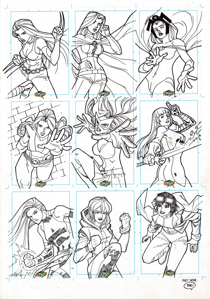 Marvel Girls Sketchcard BW 01 by pipin