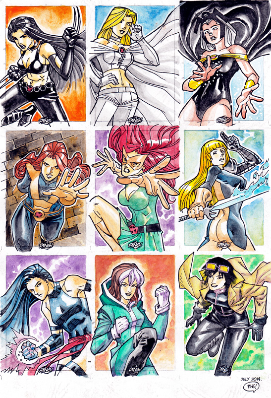 Marvel Girls Sketch Card 01 Color by pipin