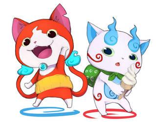 Jibanyan and Komasan by YasahiroYoruki