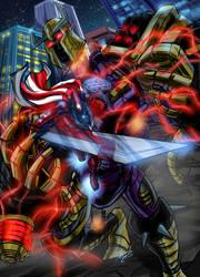 Steel Patriot vs Mega Destroid by imagesbyalex