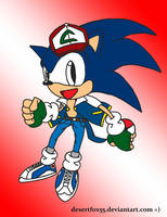 Sonic as Ash Ketchum [w/colour] by DezzyFox55