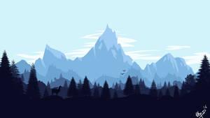 Llama Overlooking the Mountains - by LlamaFreak