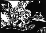 Aztec dragon in cut paper