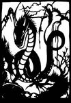 Oriental dragon in cut paper