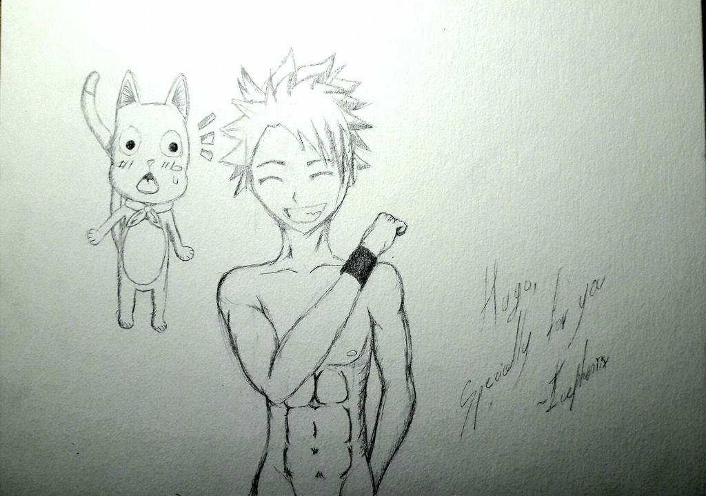 Natsu and Happy ~ Specially for him  by IcePheniix