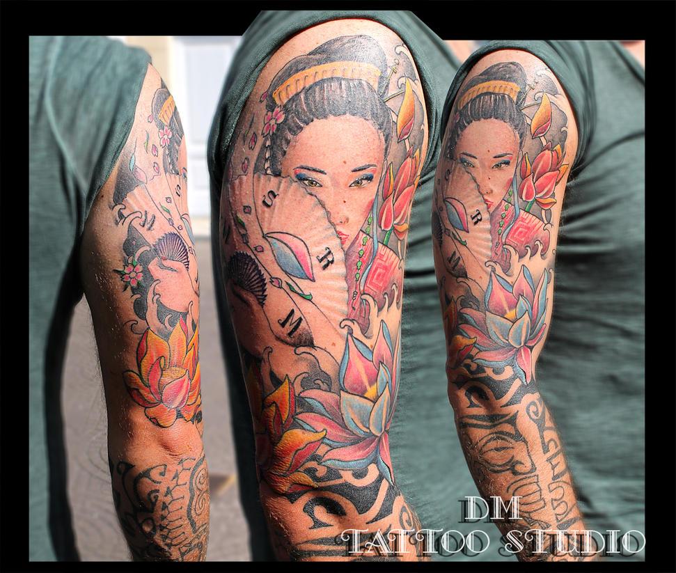 geisha tattoo by DMaerografie