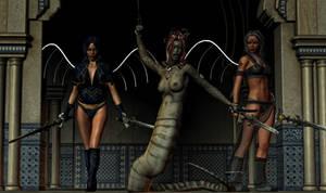 Medusa and vampire warriors