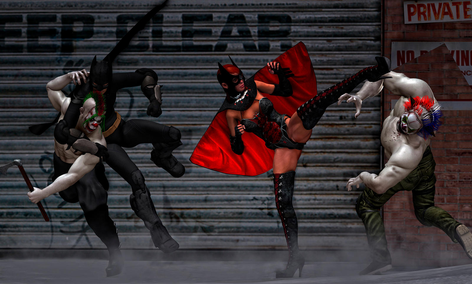 Batman e Batgirl vs evil jokers by hiram67