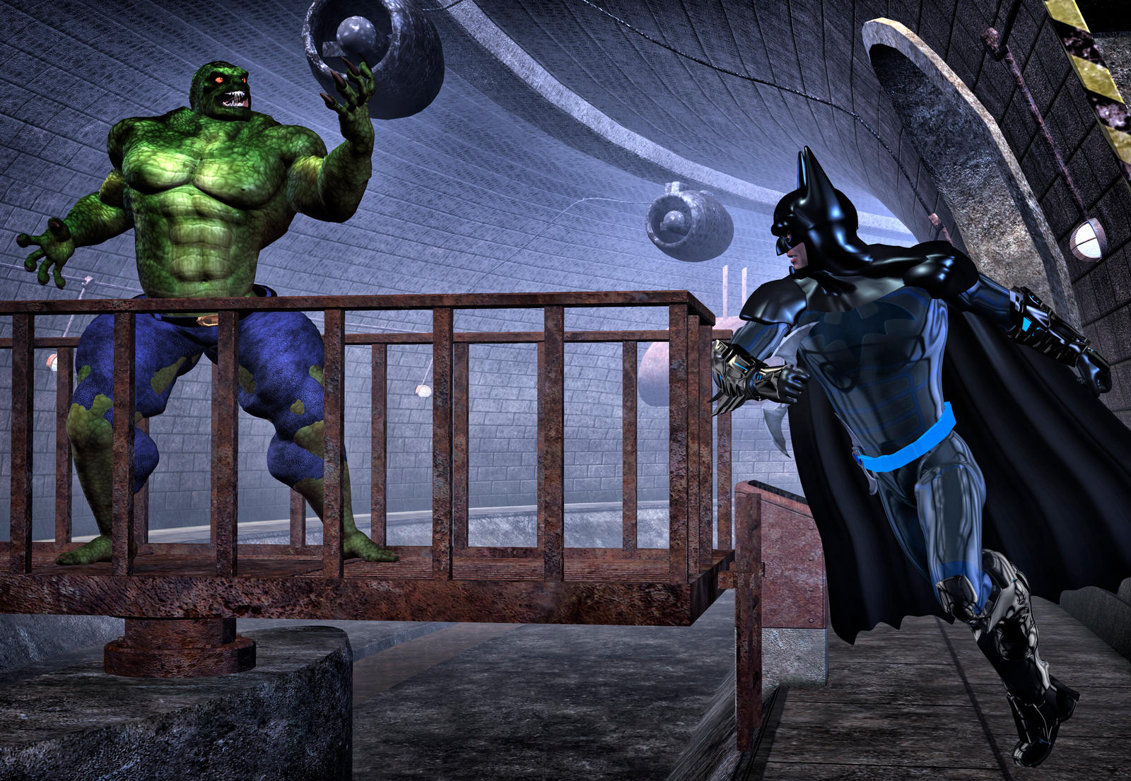 Batman vs KillerCrok by hiram67