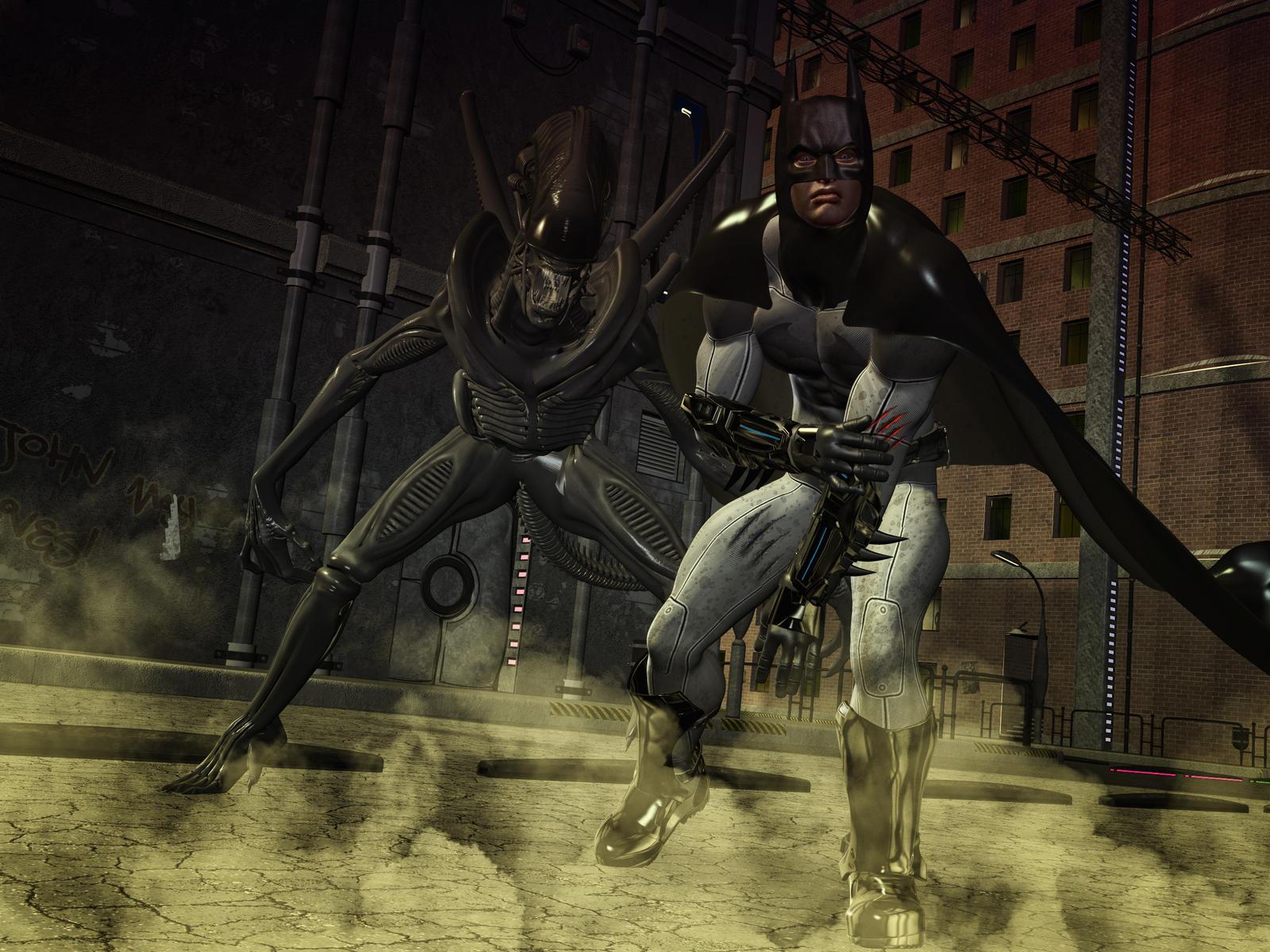 batman vs alien by - photo #4