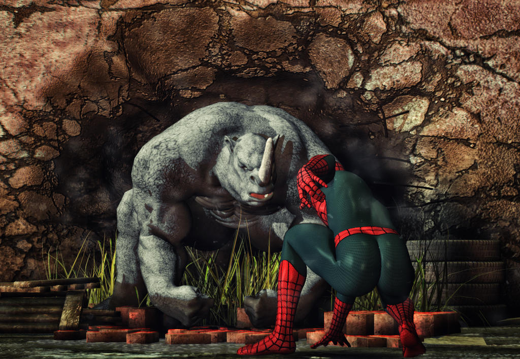 black spiderman vs rhino - photo #19