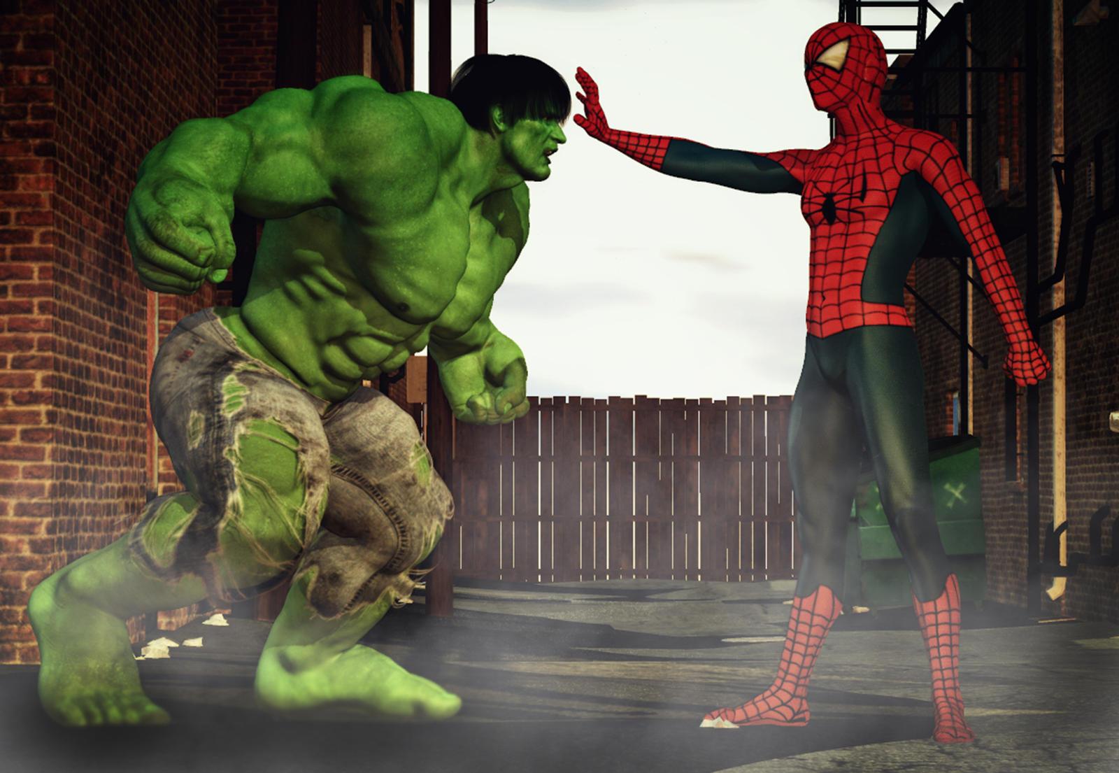 hulk vs spiderman by hiram67 on deviantart