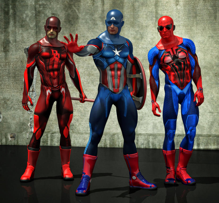 Cap America, DareDevil and Spiderman new costumes by hiram67