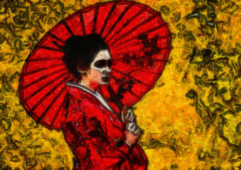 The geisha with the red umbrella