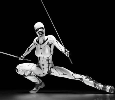 white ninja Woman