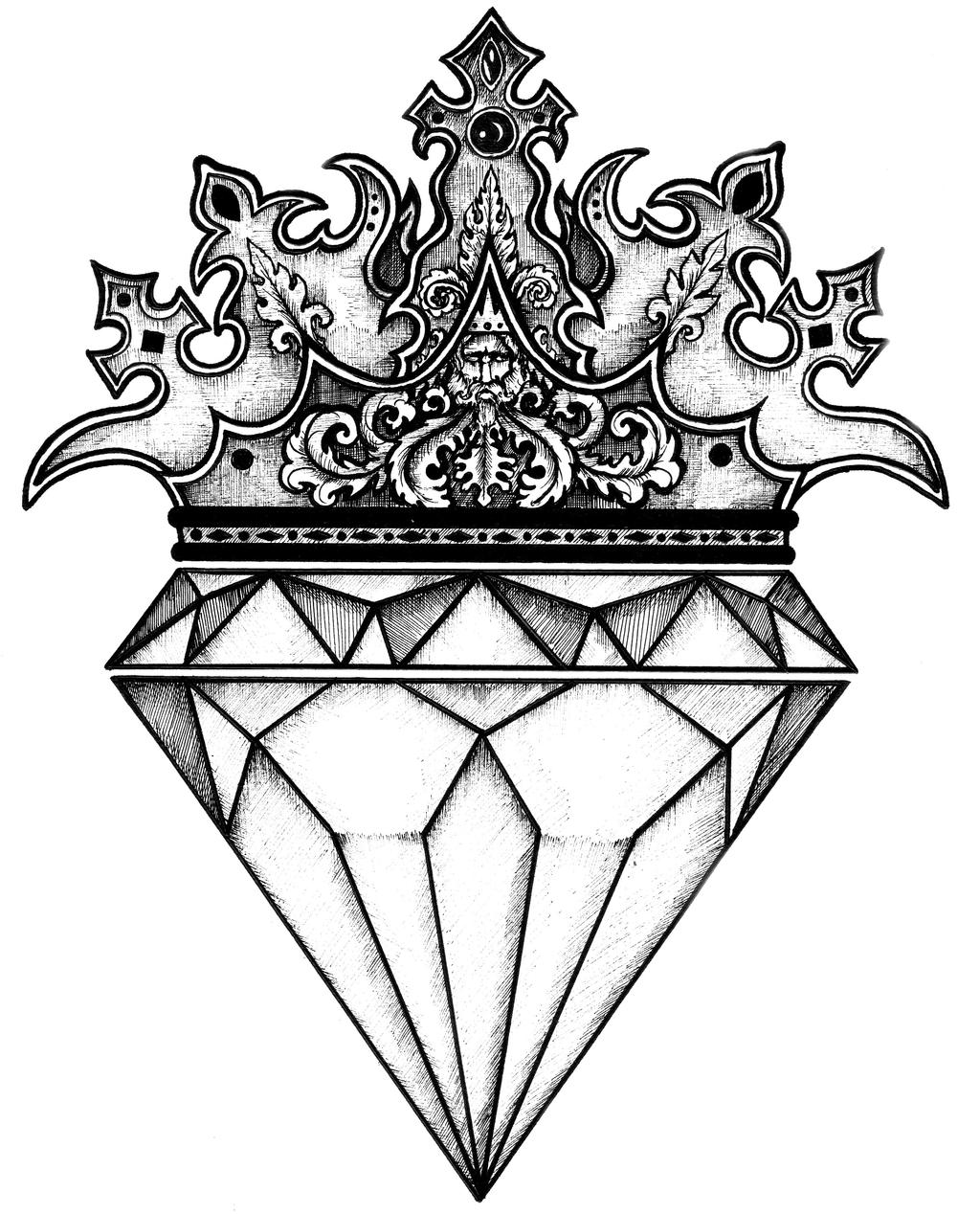 Crown Tattoo Line Drawing : Diamond crown by luciananedelea on deviantart