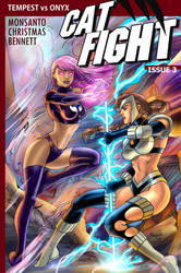 Cat Fight #3 cover -- Tempest vs. Onyx