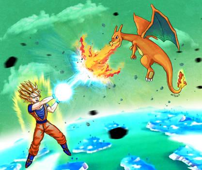 Goku vs Charizard by Articu