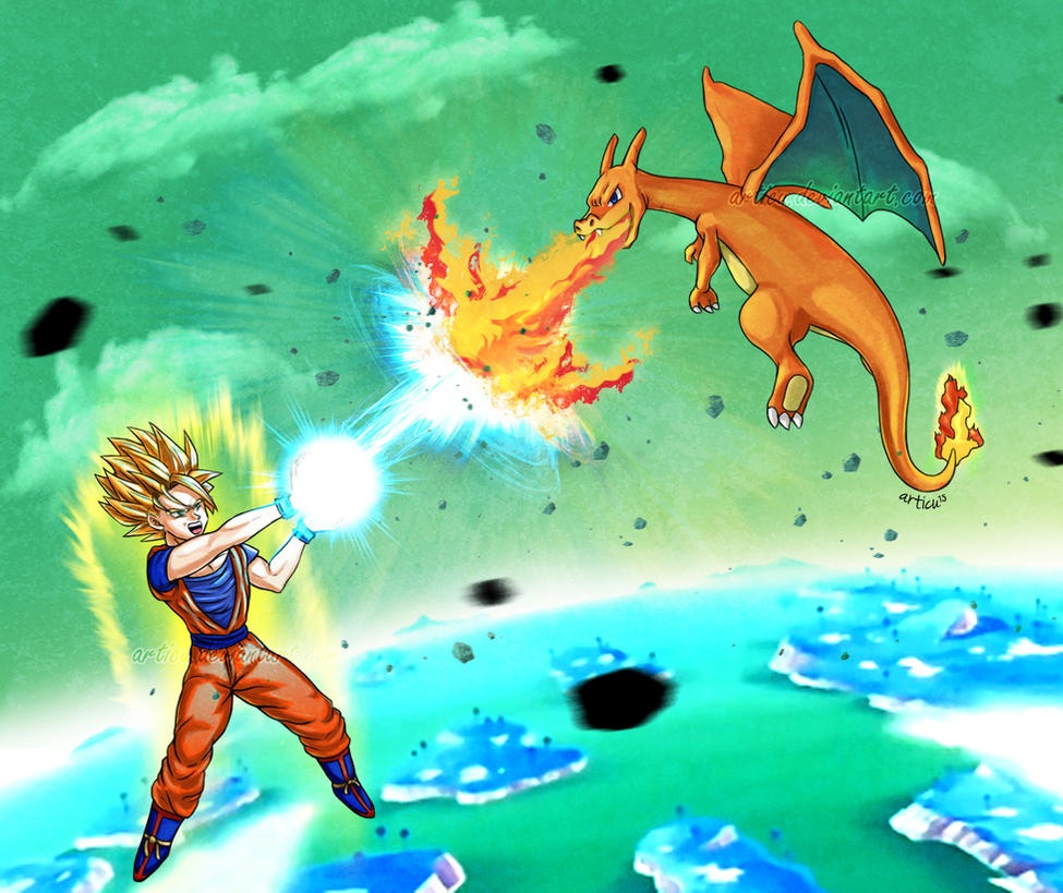 Goku vs Charizard by Articu